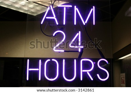 """Neon Sign series  """"atm 24 hours"""""""