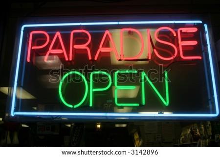 "Neon Sign series  ""paradise, open"""