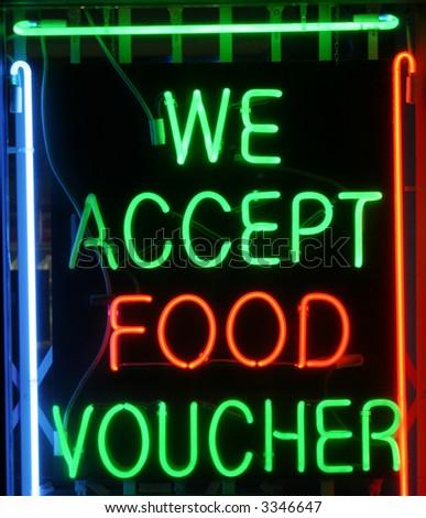 """Neon Sign Series """"we accept food voucher"""""""
