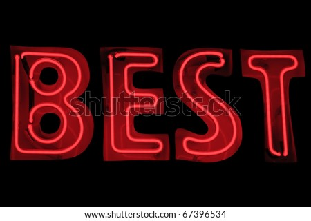 Neon sign showing word 'Best'