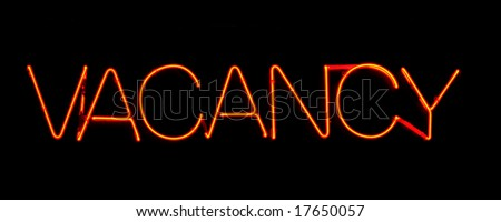 Neon sign, stating vacancy, great for your designs