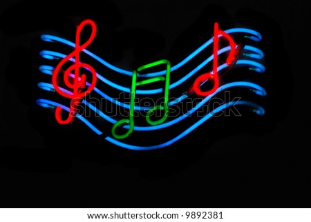 Neon Sign With Musical Notes Stock Photo 9892381