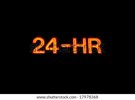 "Neon sign with the word ""24-hour"" over black"