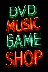 neon signboard of music shop