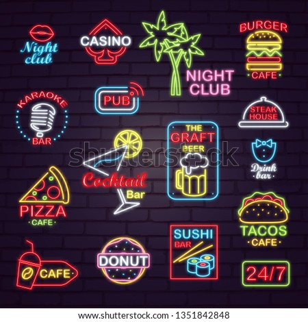 Neon signboards for night and casino clubs, karaoke and sushi bars, restaurants with tasty fastfood, craft beer and cocktails raster illustrations.