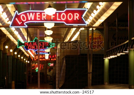 neon signs in the seattle pike place market