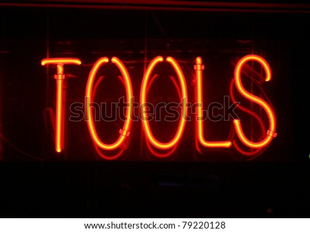 Neon Signs, neon letters and words and symbols, isolated on black - stock photo