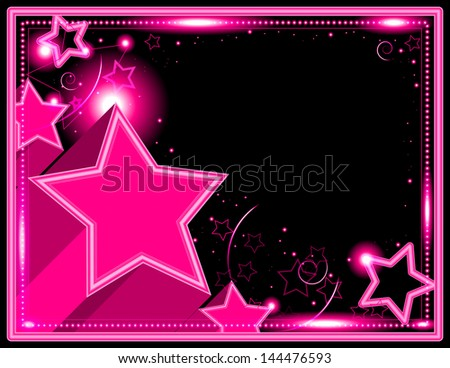 Neon Starburst Background - Stars and sparkle decorate this neon colored frame background