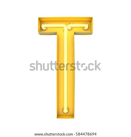 Neon style light letter T. Glowing neon Capital letter. 3D rendering