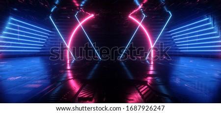 Neon Synthwave  Cyber Red Blue Cyberpunk Circle Warehouse Dark Corridor Concrete Cement Asphalt Laser Beams Club Dance Stage Fashion Parking Garage 3D Rendering illustration
