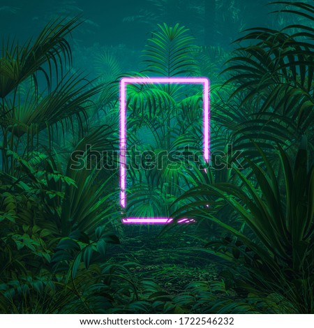 Neon tropical portal / 3D illustration of surreal glowing rectangular portal floating in lush green jungle