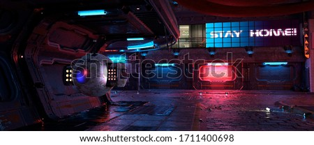 """Neon urban future. Cyberpunk city. Photorealistic 3d illustration of the futuristic city. Huge billboard with text """"Stay home!"""". Empty street with multicolored neon lights."""