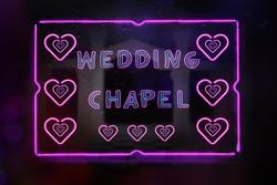 Neon Wedding Chapel Sign in Rainy Window Photo Composite