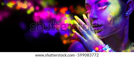 Neon Woman. Fashion model woman in neon light, portrait of beautiful model with fluorescent make-up, Art design of female disco dancer posing in UV, colorful make up. Isolated on black background. #599083772
