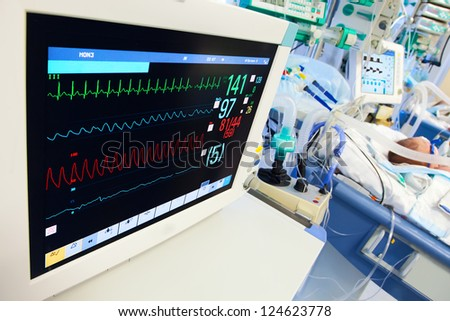 Neonatal ICU with ECG monitor on foreground