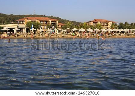 Neos Marmaras, Greece - July 09, 2014: Beach of Anthemus Sea Hotel. Chalkidike in Greece