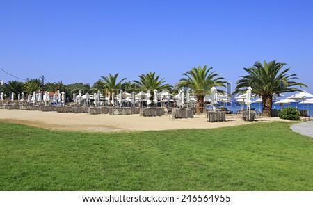 Neos Marmaras, Greece - July 10, 2014: Beach of Anthemus Sea Hotel. Chalkidike in Greece
