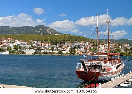Neos Marmaras summer resort at the Halkidiki peninsula in Greece - stock photo