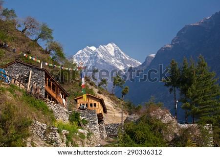 Nepal - hiking path through mountain village. Lodging #290336312