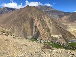 Nepal Himalayan mountains landscape Kagbeni is village in Baragubg Muktikshetra rural municipality of Mustang District Upper Mustang of Himalayas, located in the valley of Kali Gandaki River.