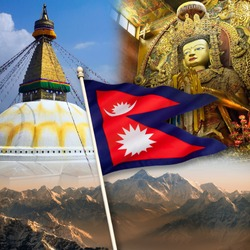 Nepal - Tourist Destinations. Mount Everest, Boudhanath Buddha and Swayambhunath Stupa. The national flag of Nepal is the worlds only non-quadrilateral national flag.