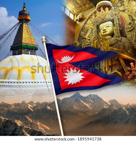 Nepal - Tourist Destinations. Mount Everest, Boudhanath Buddha and Swayambhunath Stupa. The national flag of Nepal is the worlds only non-quadrilateral national flag. Photo stock ©