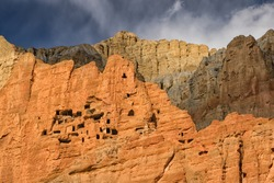 Nepal - Upper Mustang -  Mustang Caves or Sky Caves are man-made caves of over 2.000 - 3.000 years old. Near Dhakmar village.