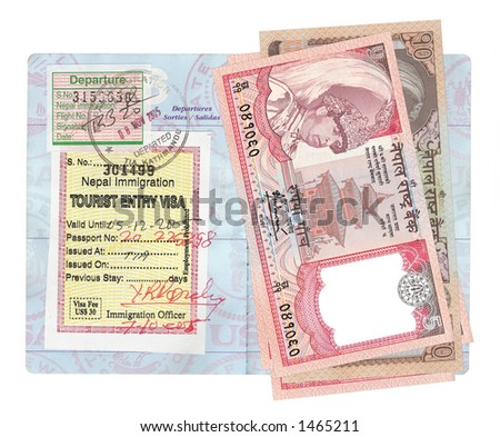 Nepalese Rupees. Fives and tens stacked up on an American passport.