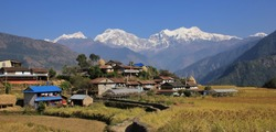 Nepalese village and snow capped Manaslu range.