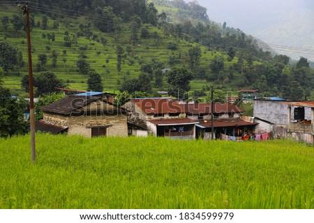 Nepali villages house of pokhara nepal pame side Photo stock ©