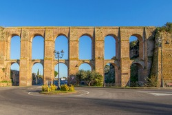 Nepi, Italy - known for its mineral springs, sold and bottled under the Acqua di Nepi brand throughout Italy, Nepi is a wonderful village 50 km North of Rome. Here in particular the famous aqueduct