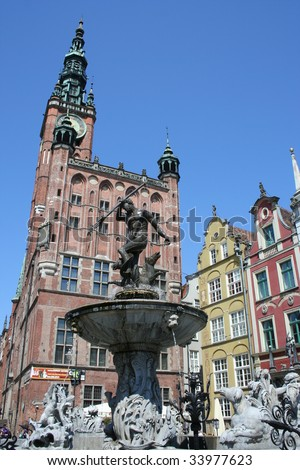 Neptune Fountain and the Townhall in Gdansk Poland