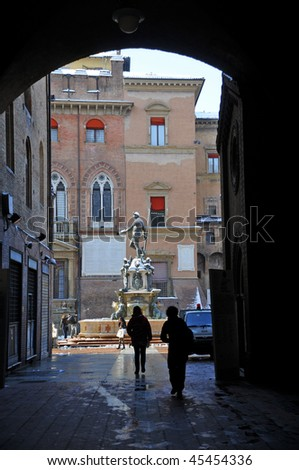 Neptune fountain covered with snow, Bologna, Italy