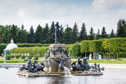 Neptune Fountain in Pertergof, St.Petersburg, Russia