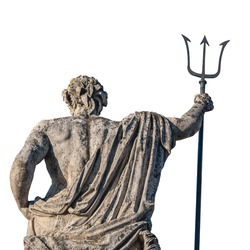 Neptune's back (Poseidon's). The ancient statue of the god of the seas and oceans. Famous tourist attraction. On a white background