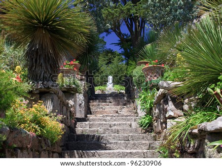 Neptune's Steps, leading up to a bust of Neptune, god of the sea, at Tresco Abbey Gardens, Isles of Scilly, England