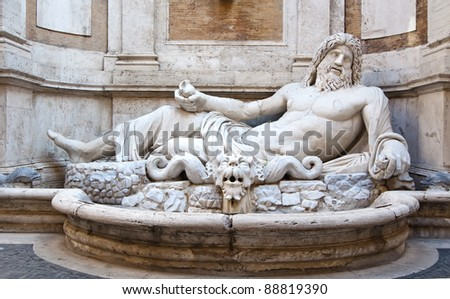 Neptune sculpture in the Capitoline Museums in Rome, Italy