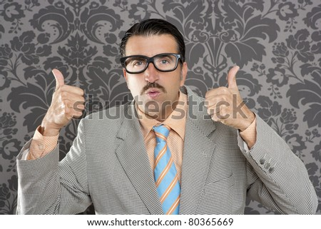 nerd businessman gesturing ok positive with hand over retro wallpaper