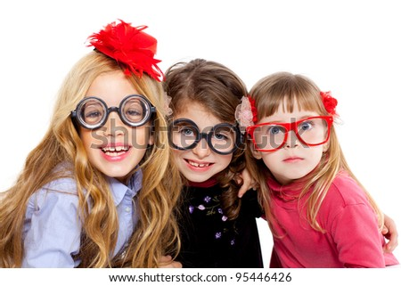 nerd children girl group with glasses and funny expression