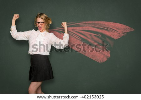 Nerd dork fashion cape super woman celebrates strength power confident ego inner pride independence individuality unique