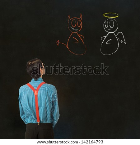 Nerd geek businessman, student or teacher with angel or devil chalk decision to make