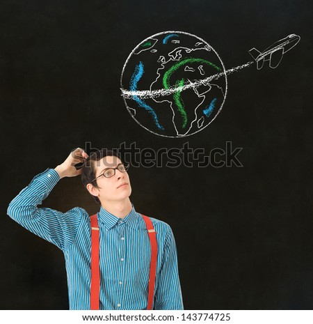 Nerd geek businessman student teacher with chalk globe and jet world travel blackboard background