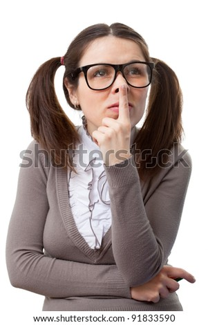 Nerd girl touching her nose and thinking