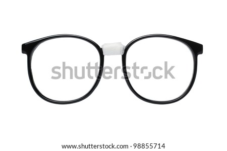 Nerd glasses isolated on white background with clipping path for easy background removal