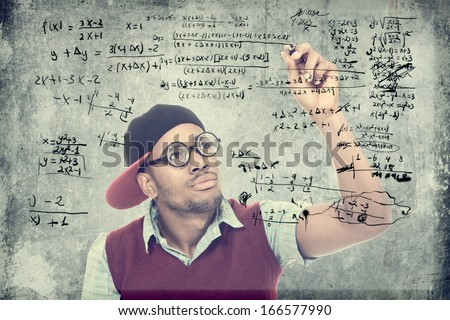 Nerd is writing a complex formula on a glass wall