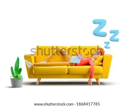 Nerd Larry sleeping on a yellow sofa. 3d illustration.