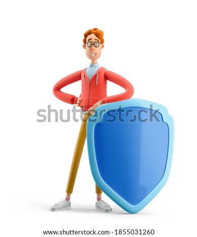 Nerd Larry with shield. 3d illustration. Safety and protection concept.