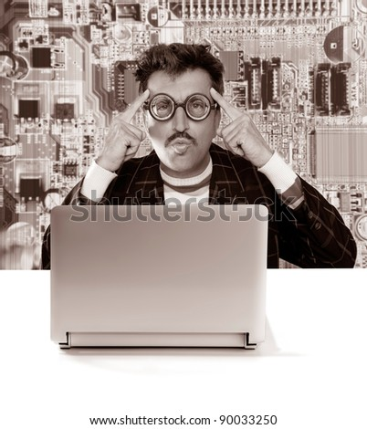 Nerd pensive man with myopic glasses looking for solution on electronics technology problem [ photo-illustration]