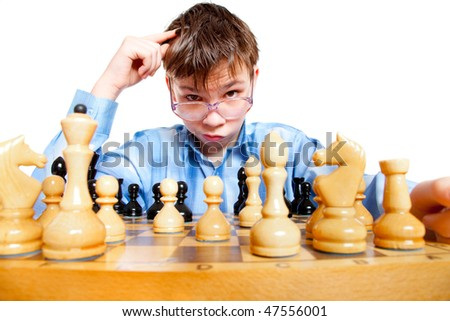 Nerd play chess on a white background