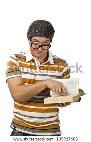 Nerd pointing out a fascinating fact in a very old dusty book - stock photo